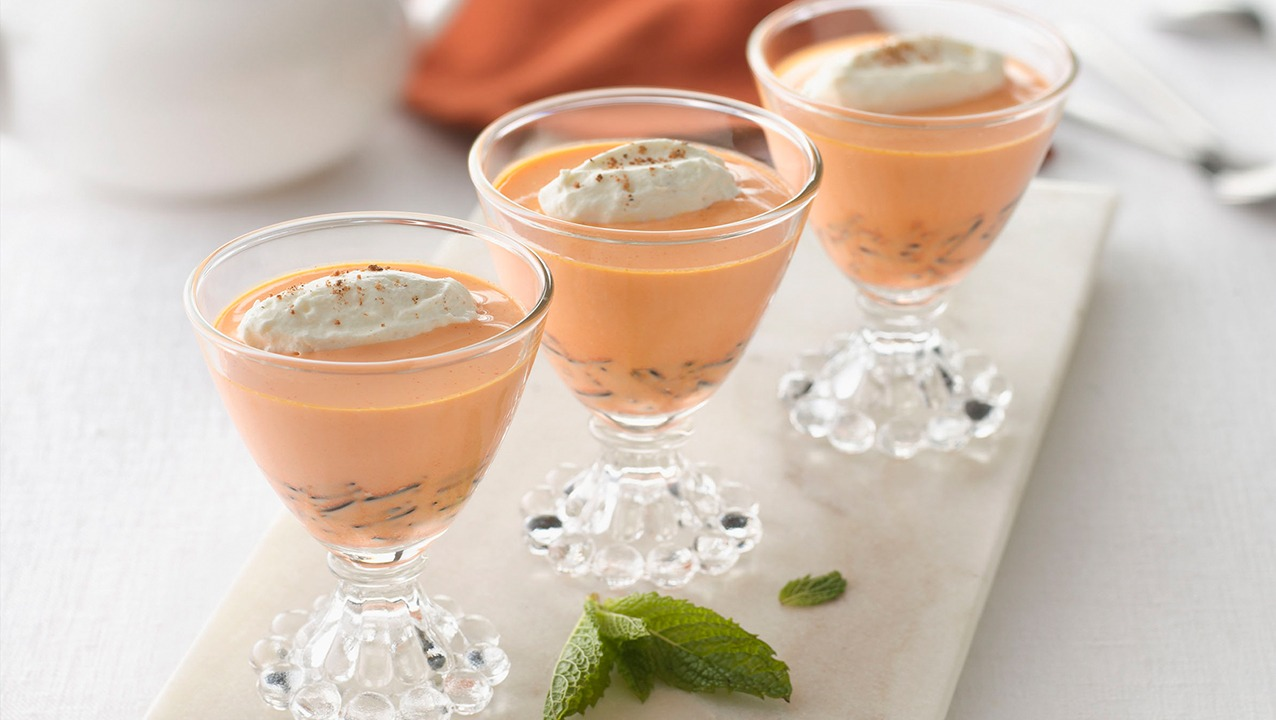 Carrot-Ginger and Wild Rice Panna Cotta with Cardamom-Whipped Cream