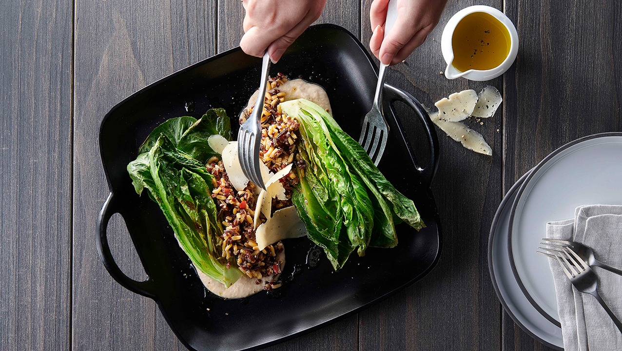 Grilled romaine salad with kamut blend assembly
