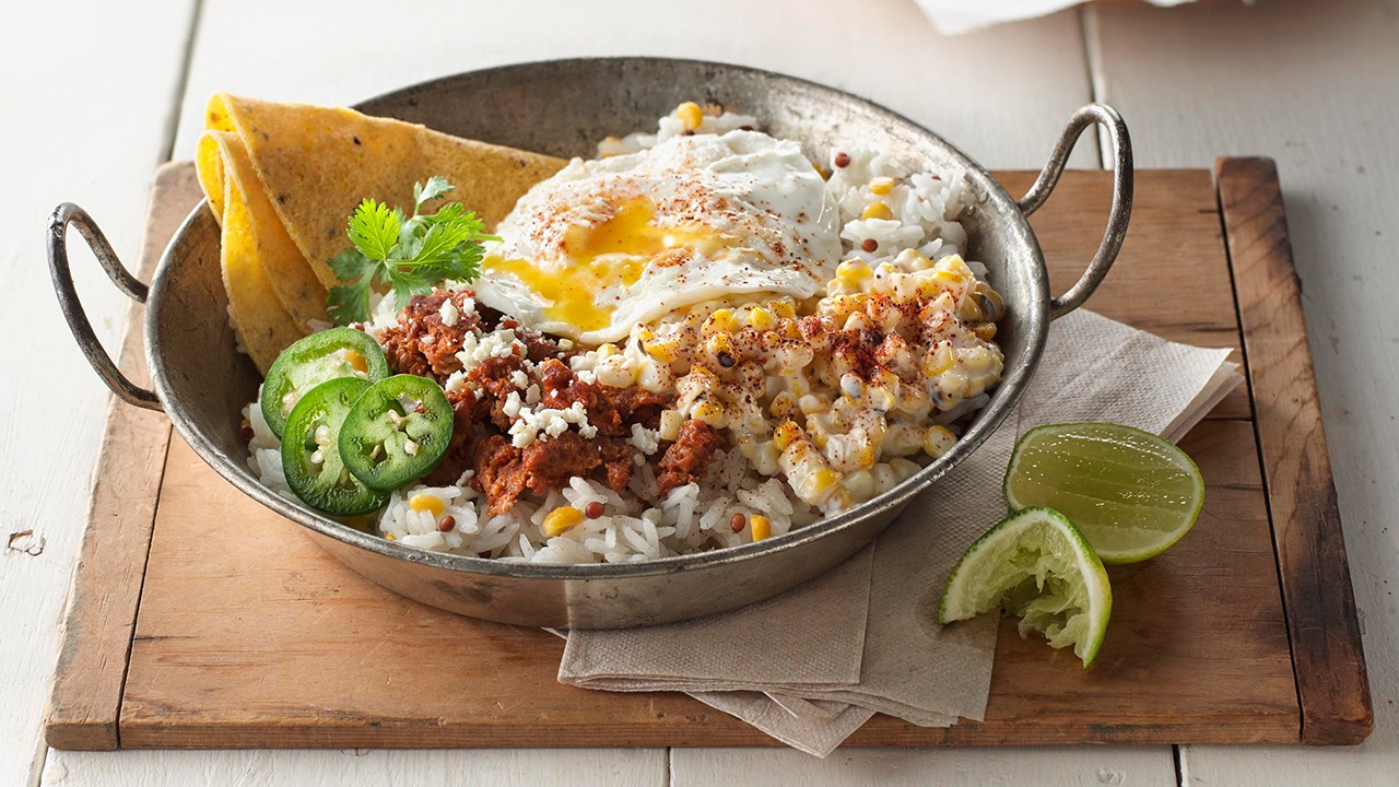 Jasmine Blend Breakfast Bowl with Crumbled Chorizo and Off-the-Cob Elote