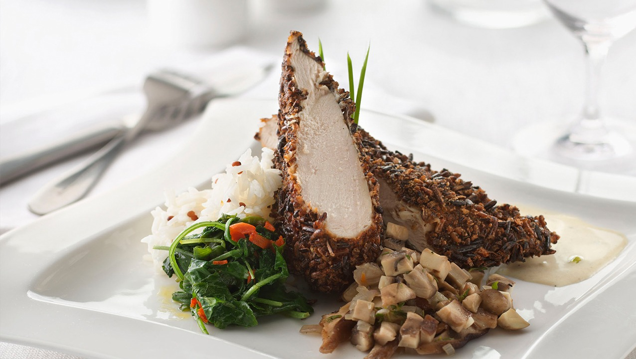 Puffed Rice Crusted Chicken Breast with Mushroom Duxelle