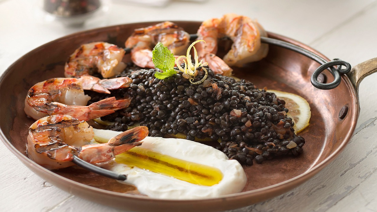Spiced Beluga Lentils with Yogurt and Grilled Shrimp