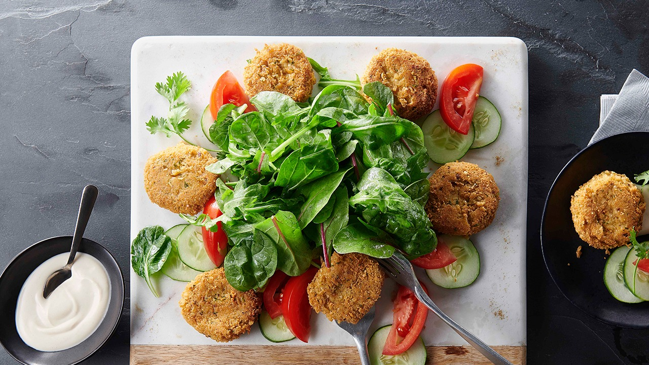 Sunrise falafel salad on plate