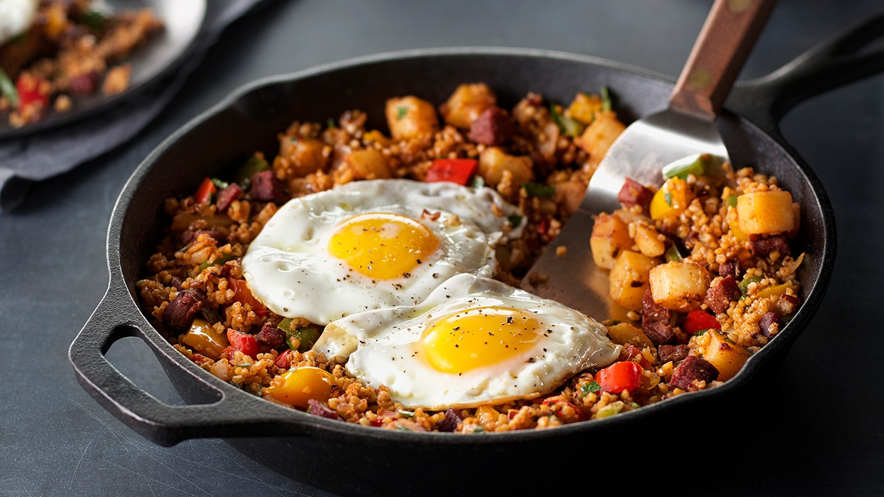 Sunrise corned beef hash in skillet