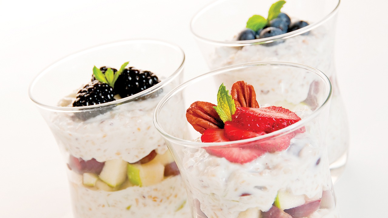 Sunrise breakfast parfaits in three cups