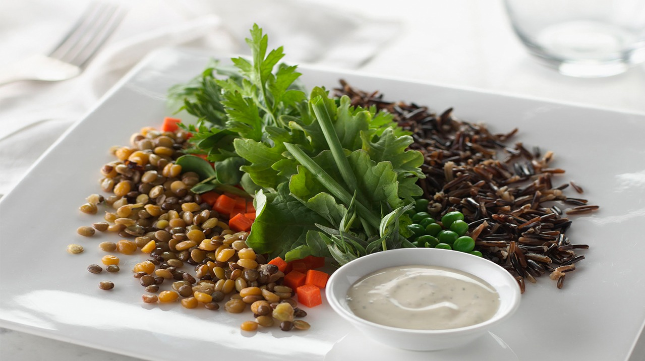 Wild Rice and Lentil Shaker Salad with Green Goddess Dressing