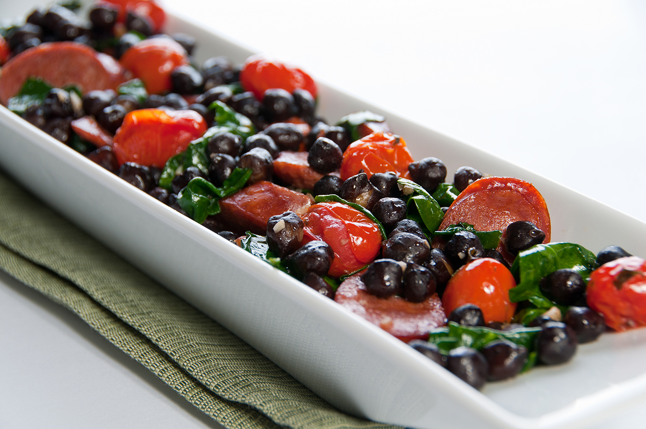 Black Butte Chickpeas™ with Chorizo, Spinach & Roasted Tomatoes