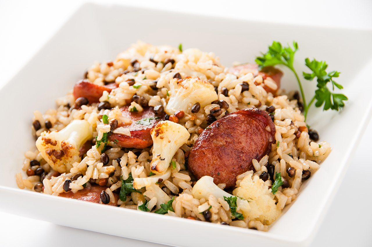 Grain Perfect™ Black Pearl Medley® with Andouille and Cauliflower